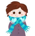 The boy in winter clothes vector image