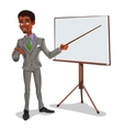 3d businessman in a presentation vector image
