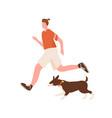 active man enjoy morning jogging with dog vector image vector image