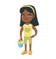 african girl in shorts holding pail and shovel vector image vector image