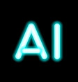ai letter artificial intelligence neon lamp vector image vector image