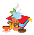 book cup of tea donuts colored for design vector image vector image