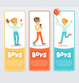 boys in different situations boys banners for vector image vector image