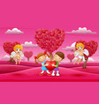 cartoon child couple holding a big heart with cupi vector image vector image