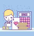 casino croupier male ace card bill bingo coins vector image