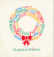 Christmas wreath greeting card vector image