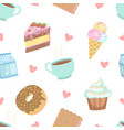 cute desserts seamless pattern cake cupcake vector image