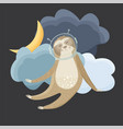 cute sloth cosmonaut flying in the sky vector image