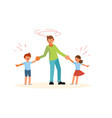difficulties of fatherhood and upbringing vector image
