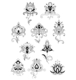 Ethnic paisley outline floral design elements vector image vector image
