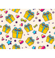 festive bright pattern with yellow gift box and vector image