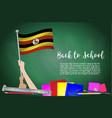 flag of uganda on black chalkboard background vector image vector image