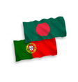 flags portugal and bangladesh on a white