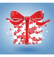 Gift with hearts and stars on a blue background vector image vector image