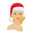 Girl in a Santa hat vector image vector image