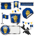glossy icons with flag of stockholm sweden vector image vector image
