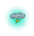 Grey cloud and lightning icon comics style vector image