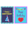 happy birthday cap cards set vector image vector image