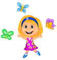 Happy little girl with colorful butterfly vector image vector image