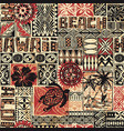 hawaiian style tribal fabric patchwork vector image vector image