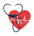 heart with stethoscope medical vector image