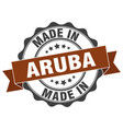 made in aruba round seal vector image vector image