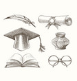 medieval high school education accessories set vector image