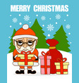 merry christmas cardsanta claus with gifts vector image vector image