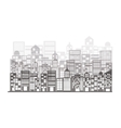 monochrome building and city scene vector image vector image