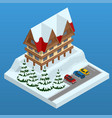 online hotel booking mountain ski resort with vector image vector image