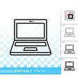 open laptop simple black line icon vector image vector image