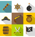 pirate icon set flat style vector image vector image