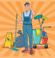 pop art cleaner in uniform with mop cleaning vector image vector image