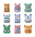 school backpack icon set vector image vector image