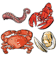 Seafood dinner drawing vector image
