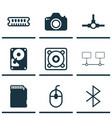 set of 9 computer hardware icons includes control vector image vector image