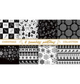 set of christmas seamless black and white patterns vector image vector image