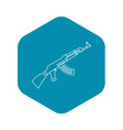 submachine gun icon outline style vector image vector image