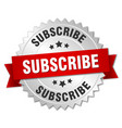 Subscribe 3d silver badge with red ribbon