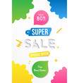 super sale vertical banner template design with vector image