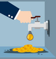 tap with gold coins vector image vector image