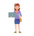 teenager girl with notebook handbag over shoulder vector image vector image