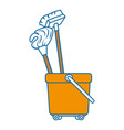 toilet trolley with broom and mop vector image