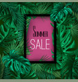 tropical exotic leaves summer sale banner vector image vector image