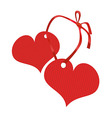 two red hearts connected by a ribbon vector image vector image