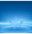 water splash in shape crown with spray droplets vector image vector image