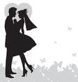 wedding couple holding hands silhouette vector image