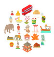 world habits icons set cartoon style vector image