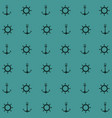 blue color pattern of anchor and boat helm vector image
