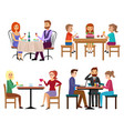 eating people set couple friends family children vector image